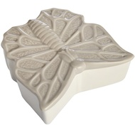 Large Grey and White Butterfly Design Trinket Box