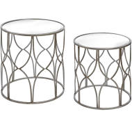 Set Of Two Lattice Detail Silver Side Table