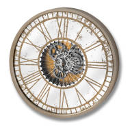 Mirrored Round Clock with Moving Mechanism