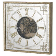 Mirrored Square Framed Clock with Moving Mechanism