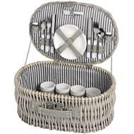 Oval Luxury Wicker Picnic Basket with Plates and Cutlery