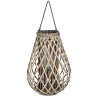 Large Wicker Bulbous Lantern
