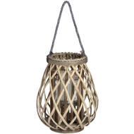 Small Wicker Bulbous Lantern