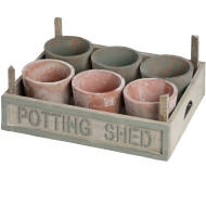 Rustic Potting Shed Large Seeding Tray With Pots