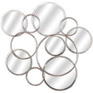 Silver Circular Abstract Mirrored Wall Art