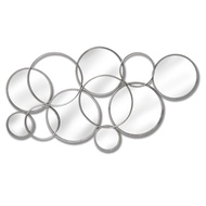 Large Silver Circular Abstract Mirrored Wall Art