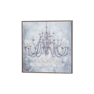 Vintage Chandelier Painting With Wooden Frame