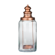 Glass Lantern With Copper Candle Holder