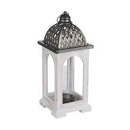 Domed Lattice Detailed Antique White Lantern