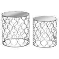 Set of Two Arabesque Silver Foil Mirrored Side Tables