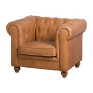Tan Faux Button Pressed Chesterfield Chair