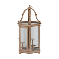 Decorative Lantern With Three Candle Stands In Polished Copper Finish