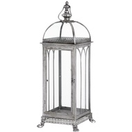 Large Antique Silver Floor Lantern With Decorative Feet