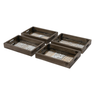 Set Of Four Wooden Glass Trays With Gold Design