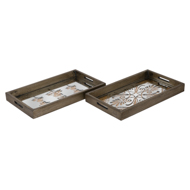Large Set Of Two Wooden Glass Trays With A Gold Fleur De Lis