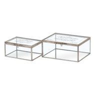 Set Of Two Glass Trinket Box With Metallic Detailing