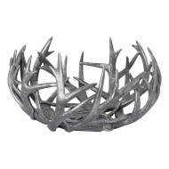 Rustic Silver Stag Antler Bowl