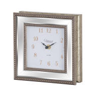 Square Bevelled Mirror Framed Free Standing Clock