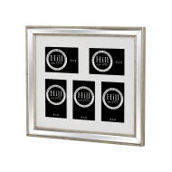 Champagne Edged Bevelled Mirror Multi Photo Frame Five x 4X6