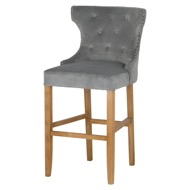Grey Velvet Tufted High Bar Stool