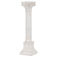 Aged Stone Effect Large Candle Pillar With Scroll Detail