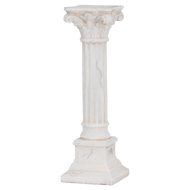 Aged Stone Effect Candle Pillar With Scroll Detail