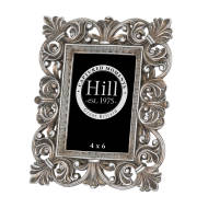 Antique Silver Fleur De Lis  Decorative Frame 4X6