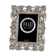 Antique Silver Fleur De Lis  Decorative Frame 5X7