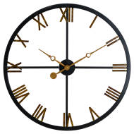 Black And Gold Skeleton Station Clock