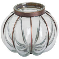 Large Blown Glass Candle Holder With Metal Fitting