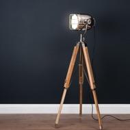 Nickel Industrial Spotlight Tripod Lamp - Thumb 2