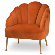 Burnt Orange Velvet Teacup Chair