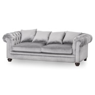 Grey Velvet Large Chesterfield Three Seater Sofa