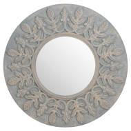 Grey Painted Fleur De Lis Round hand carved Mirror