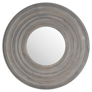Grey Painted Round Textured Mirror