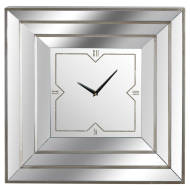 Square Triple Bevelled Mirrored Wall Clock