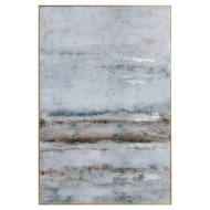 Large Abstract Grey Glass Image With Silver Frame