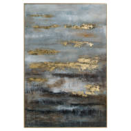 Large Abstract Grey And Gold Glass Image With Gold Frame