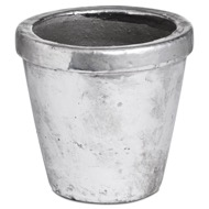 Metallic Ceramic Small Rimmed Plant Pot