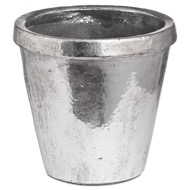 Metallic Ceramic Large Rimmed Plant Pot