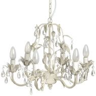 Crystal  Drop  With  Leaf  Motif  Chandelier