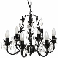 Black  With  Clear  Crystal  Effect  Drop  Chandelier