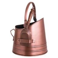 Copper Effect Coal Bucket With Teak Handled Shovel