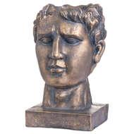 Antique Bronze Roman Head Planter Indoor Outdoor