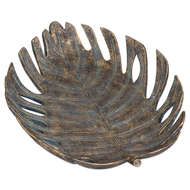 Large Antique Bronze Cheese Plant Leaf Dish