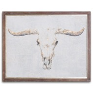 Bull On Cement Board With Frame