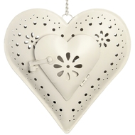 Cream  Hanging  Heart  Tea  Light  Holder