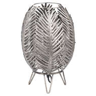Antique Silver Palm Closed Leaf Table Lamp