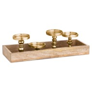 Hardwood Display Tray With Four Candle Holders