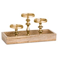 Hardwood Display Tray With Three Candle Holders